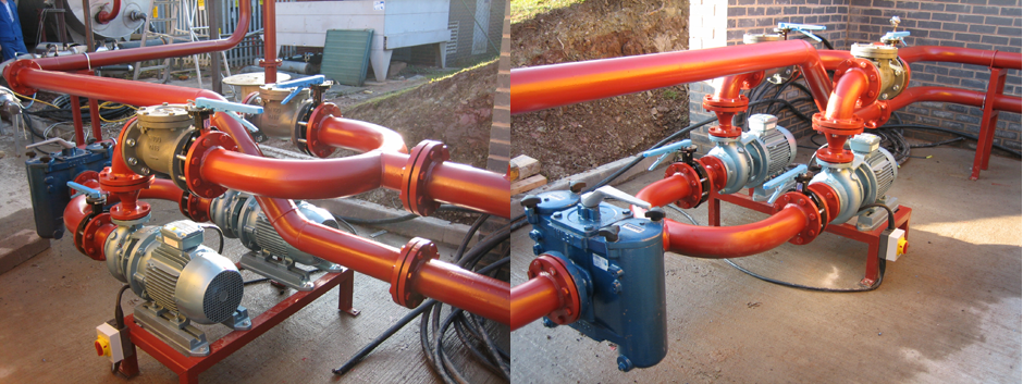 Jacketed pipework installation with electric motors and pump.